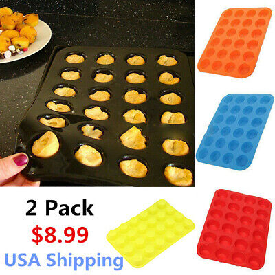 Mini 24 Cavity Muffin Cupcake Silicone Mold Cookie Mould Pan Tray Baking 2 Pack  Mini Muffin Cupcake