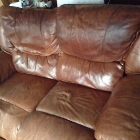 2 Tan leather sofas 2 seater Free to collect
