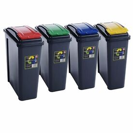 Wham 25L Slimline Home Trash Waste Plastic Recycling Bin Set