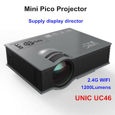 UC46 Mini Portable Projector Home Theater Projector 1200Lumens 2.4G WIFI HD/USB