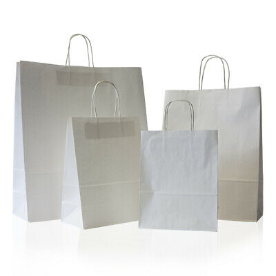 50 small White Kraft Paper SOS Food Carrier Bags With Handles Party Takeaway