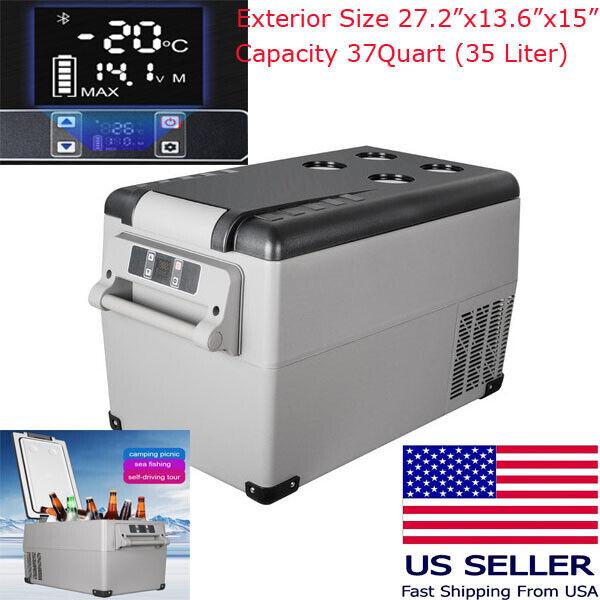 37QT Portable Car Fridge Freezer Mini 12/24V Auto Refrigerator Camping Travel US