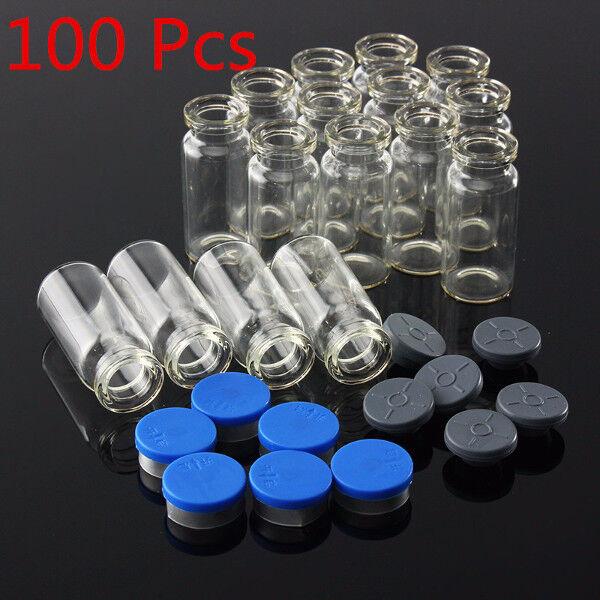 100Pcs 10ML Clear Glass Bottle with Stopper Flip Off Seals Aluminum Blue Caps
