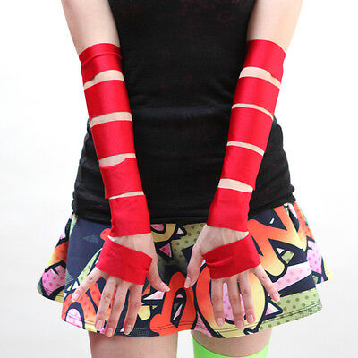 Red Shiny Cut Out Fingerless Gloves Spandex Harley Quinn Costume Cosplay M23](Harley Quinn Spandex Costume)