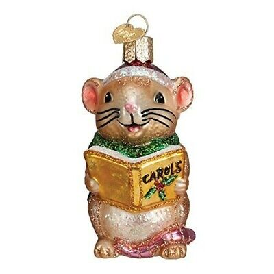 Old World Christmas 12427 Glass Blown Caroling Mouse Ornament