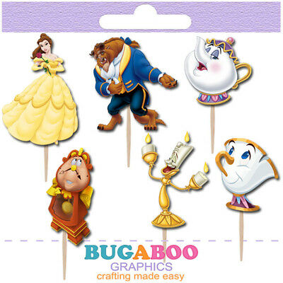 Beauty And The Beast Birthday Supplies (Beauty and the Beast Cupcake Toppers, Cakepop Toppers, Birthday Party)