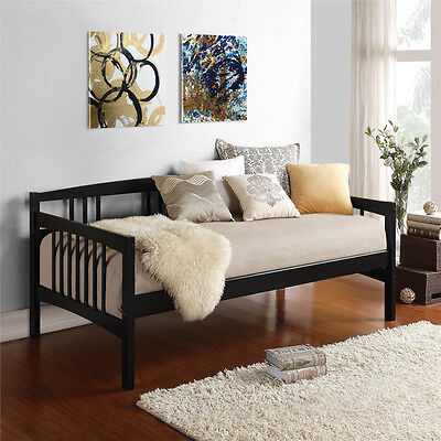 Black Twin Size Wood Day Bed Home Living Room Guest Bedroom Dorm Furniture