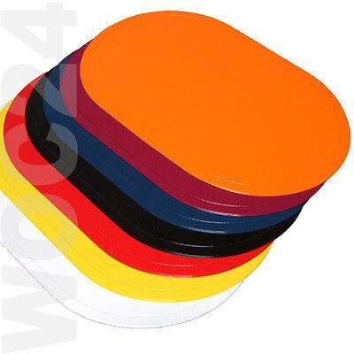 Platzdeckchen Tischset Platzset abwaschbar GELB-SCHWARZ-BLAU-ROT Kunststoff PVC  Ovale Platz