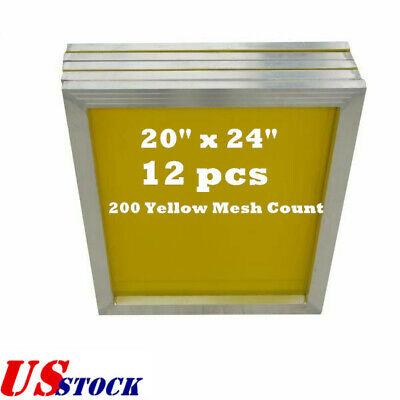 Us 12 Pcs -20 X 24aluminum Screen Printing Screens With 200 Yellow Mesh Count