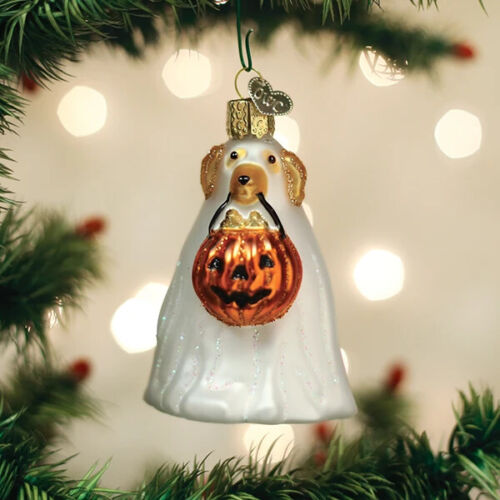 OLD WORLD CHRISTMAS TRICK-OR-TREAT POOCH GLASS HALLOWEEN ORNAMENT 26088