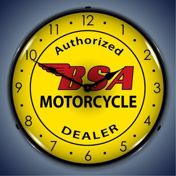 New LED LIGHTED Authorized BSA Motorcycle Dealer bike clock  USA Made Fast Ship