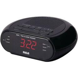 Rca RC205 Dual Wake Alarm Clock Radio Black .6 Red LED
