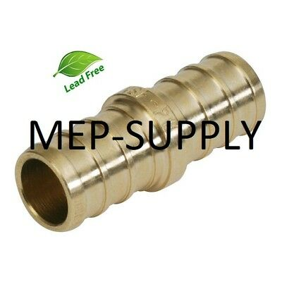 1 Pex Coupling - Brass 1 Inch Crimp Coupler Fitting Lead Free - Lot Of 10
