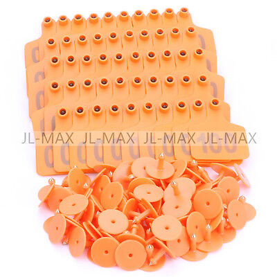 No.1-100 Livestock Ear Tag Label Marker Plastic 6x7.3cm Plate For Cow Pig Orange