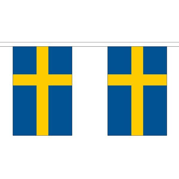 Sweden Flag Bunting - 3m 6m 9m Metre Length 10 20 30 Flags - Polyester Euro 2016
