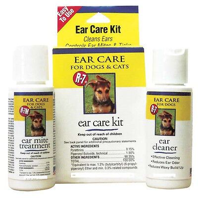 (RICH HEALTH R7 EAR MITE TREATMENT KIT WITH CLEANER GIMBORN. FREE SHIP TO THE USA)