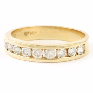 14k Yellow Gold Channel Set Diamond Band (9 dia, 0.50 tdw) #3704