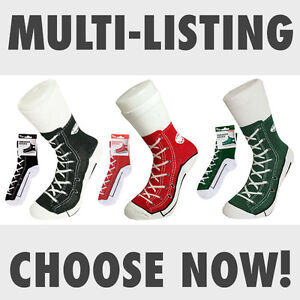 Silly-Sock-Sneaker-Socks-Shoe-Print-Red-Green-Black-Converse-Style-Size-6-12