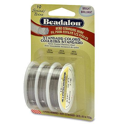 Beadalon 19 Strand Bead Stringing Jewelry Beading Wire 3 Size Variety Pack