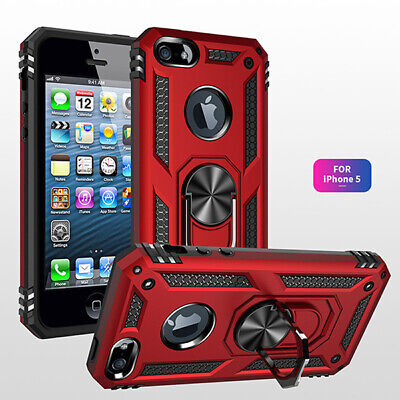For iPhone 5 5S SE Magnetic TPU Rugged Case Cover With Ring Stand Holer
