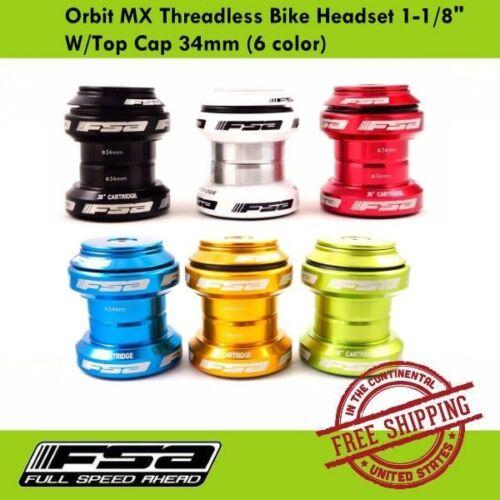 "FSA Orbit MX Headset 34mm Road Bike Threadless 1-1//8/"" Black//Red//Blue//white"