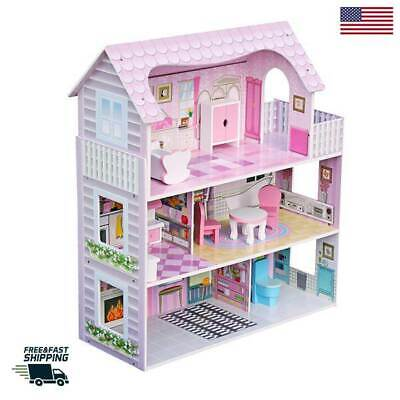Large Size Doll House Girls Dream Play Wooden Playhouse Dollhouse Large Play Doll
