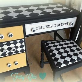 Stunning hand painted Alice desk and chair