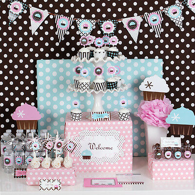 Cupcake Bridal Baby Shower Sweet 16  Birthday Theme Mod Party Decorations Kit
