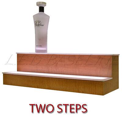 60 2 Tier Led Lighted Liquor Display Shelf - Maple Finish
