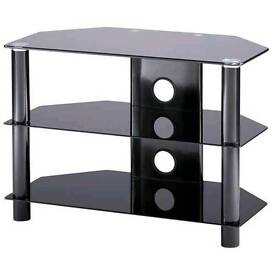 Black glass and metal TV cabinet ready for immediate collection