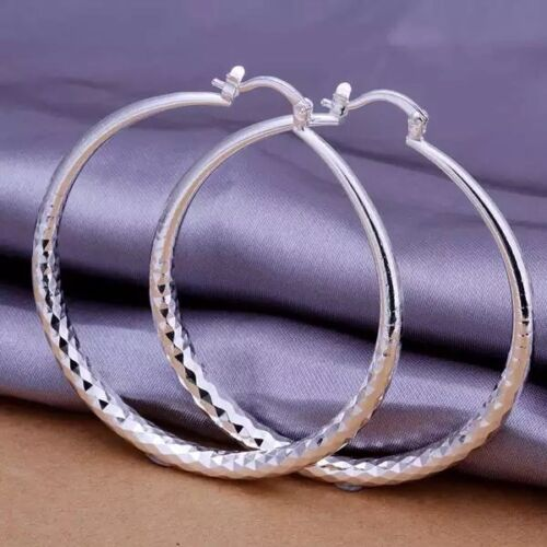 Womens 925 Sterling Silver 2 inch Large Big Round Diamond-Cut Hoop Earrings E18 Earrings