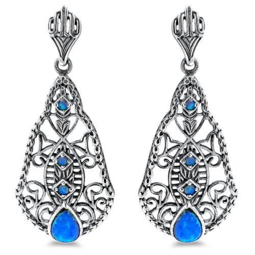 BLUE LAB OPAL ANTIQUE DECO DESIGN 925 STERLING SILVER EARRINGS,           #255