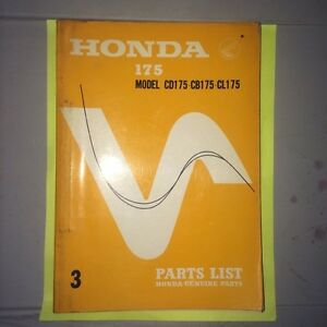 1968 Honda CB175 CD175 CL175 Parts Book