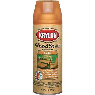 3 Pk Krylon 12 Oz Exterior Semi-Transparent Cedar Wood Stain Spray 3601