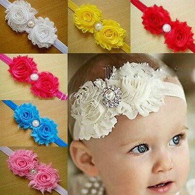 10PCS Kid Baby Girls Infant Pearl Flower Headband Hair Bow Band Accessories Cute