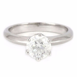 14k White Gold 6-Prong Solitaire Diamond Ring (1.27 ct) 3343