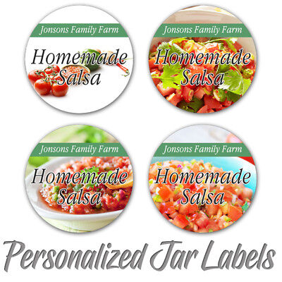 SALSA HOMEMADE PERSONALIZED MASON JAR LID BOTTLE FARM KITCHEN CUSTOM LABELS