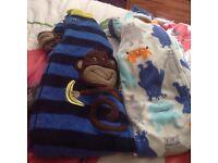 2x fleece all in one baby gro & dressing