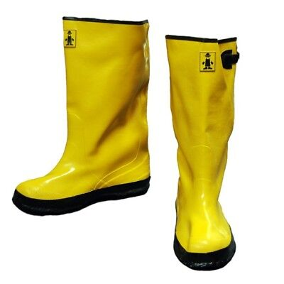 Heavy Duty Rubber Boots (The Safety Zone Men Slush Boots 17 in. Size 11 Yellow Heavy-Duty Rubber Over-Sho )