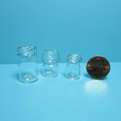 Dollhouse Miniature Glass Mason Jar Set with Metal Lid Closure IM65155
