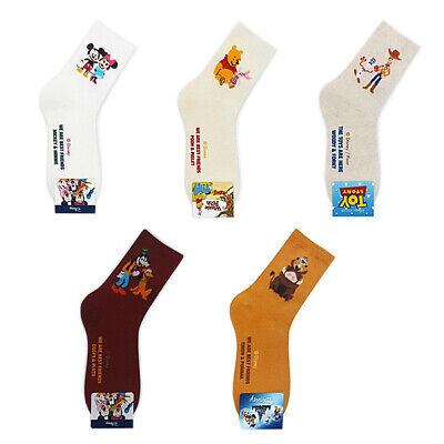 5 Pairs Cartoon Socks Toy Story Mickey Pooh Goofy Character Socks MADE IN KOREA