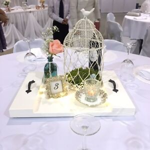 12 Wood tray table centrepieces