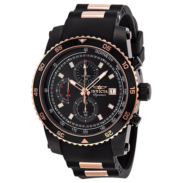 Invicta Signature II Black Dial Two-tone Stainless Steel Chronograph Mens Watch фото