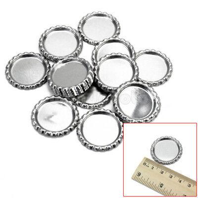 20 St. Silber Bottle Cap Kronkorken DIY Basteln Halskette Schlüsselanhänger rund ()