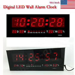 Large Digital Jumbo Display RED LED Desk/Wall Clock Calendar Thermometer US
