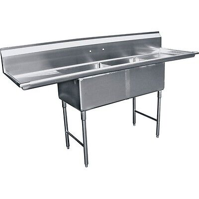 2 Compartment Stainless Steel Two Tubs Sink 15x15 W 2 Drainboard Etl Se15152d