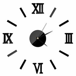 Roman Numerals Frameless Large Acrylic Mirror Surface 3D DIY Wall Clock Stickers
