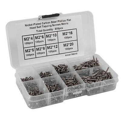 800pcs Stainless Steel Self Tapping Screw Assortment Kit Lock Nut Wood