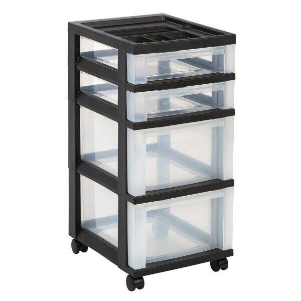 "Office Depot Brand Plastic 4-Drawer Storage Cart, 26 7/16"" x 12 1/16"" x 14 1/4"""