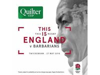 3 x Tickets to Rugby's Quilter Cup: England v Barbarians @ Twickenham (Sunday 27th May)